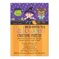 Spooky monster and friends halloween costume party personalized halloween costume party announcements stopboris Choice Image