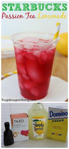 Copycat Starbucks Passion Tea Lemonade Recipe #copycatrecipes #starbucks #lemonaderecipes