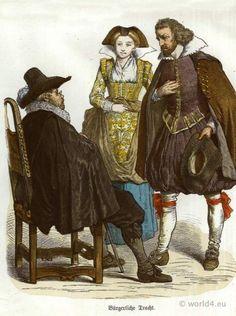 German Renaissance dresses, Costumes, Barett, Spanish Fashion, mens dress, 1600th century (she's wearing 16th century German with Italian influence. Interesting...)