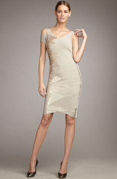 0882f42a5c93 Herve Leger Asymmetric Beaded Bandage Dress Pumice Pumice