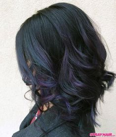 [ Trendy Ideas For Hair Color - Highlights : dark purple oil slick hair color Oil Slick Hair Color, Hair Color And Cut, Natural Hair Styles, Short Hair Styles, Purple Hair, Dark Purple, Rides Front, Slick Hairstyles, Hair Color Highlights