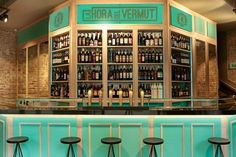 Barra de La Hora del Vermut. Bar Madrid, Foto Madrid, Ibiza, Tapas Bar, Cosmos, Liquor Cabinet, Travel, Furniture, Design