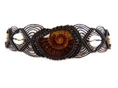 Choker Ammonit Cowry Shells Macrame Thai Tribal by ValaddaJewelry