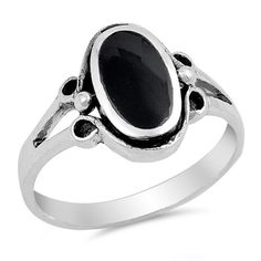 Sterling Silver Unique Oval Cut Black Onyx Ring Sz 5-12 130799123456