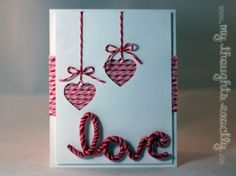 Love card using pipe cleaners and Trendy Twine