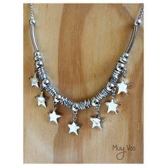 Gargantilla LEILA >> Regulable con dijes de estrellas •MuyVos Accesorios• Moon Jewelry, Jewelry Art, Beaded Jewelry, Fashion Jewelry, Jewelry Design, Boho Accessories, Handmade Accessories, Handmade Bracelets, Handmade Jewelry