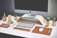 Flash Sale Wooden Birch Vertical Desktop Tablet PC Dock Holder Display Bracket For apple iMac Monitor wireless Keyboard Chic Desk, Monitor Stand, Wooden Desk, Desk Setup, Desktop Accessories, Office Table Accessories, Desk Accesories, Deco Design, Shape Design