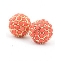 Gold Stud Earring with Coral Stone Accents - also comes in teal!  Mimi (14)
