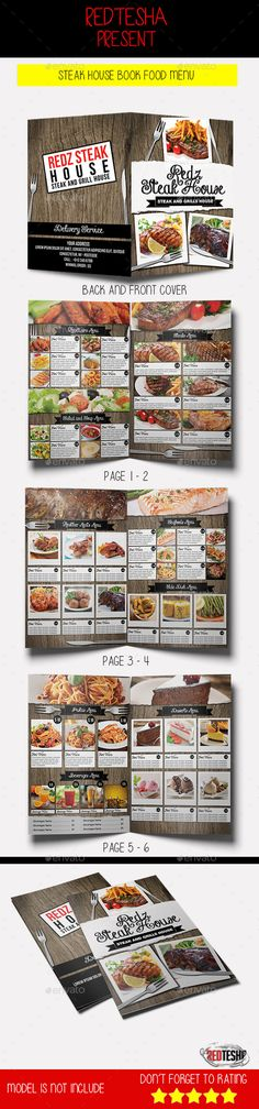 Steak House Book Food Menu Template #design Download: http://graphicriver.net/item/steak-house-book-food-menu/12955375?ref=ksioks
