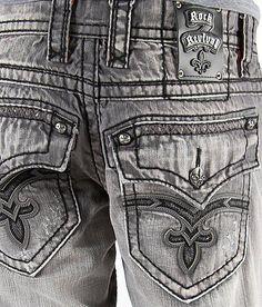 New Rock Revival Benjamin ET7 Relaxed Straight Mens Jean size 32 Buckle jean #RockRevival #ClassicStraightLeg