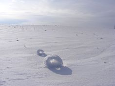 Snow doughnuts form when large snowballs are blown along the ground, picking up chunks of snow as they move.