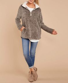 MIROL Womens Casual Fall Long Sleeve Zipper Pullover Kangoroo Fuzzy Sherpa  Fleece Sweatshirts Tops Outwear with Pockets   More info could be found at  the ... 419c2f416