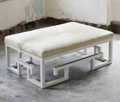 Jeannie Ottoman- White - Clayton Gray Home White Ottoman, Ottoman Bench, Upholstered Furniture, Custom Furniture, Cowhide Decor, Upholstered Coffee Tables, Dream Bedroom, Family Room, Vans