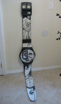 HUGE VIntage Black & White Swatch Watch MAXI Wall Clock 7 Feet