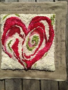 During her recent recovery from breast cancer, Meryl began designing a line of Healing Mats. Rug Hooking Designs, Rug Hooking Patterns, Hook Punch, Punch Needle Patterns, Latch Hook Rugs, Rug Inspiration, Hand Hooked Rugs, Penny Rugs, Wool Applique