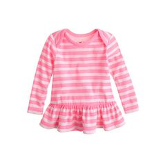Baby long-sleeve ruffle shirt in neon stripe