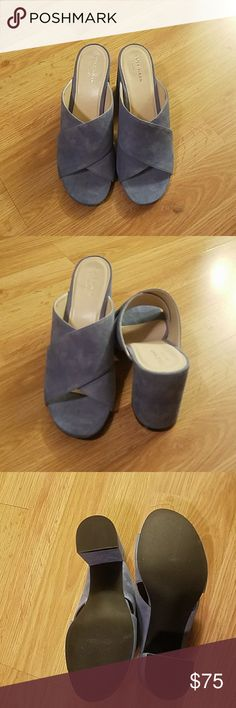 """Cole Haan suede mules Adorable Cole Haan Suede Mules....beautiful periwinkle or sky blue color...perfect for spring. Block heel so shoes are very comfy!  A little over 3"""" in heel. Cole Haan Shoes Sandals"""