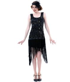 I like the cut, but would like it in champagne or gold. Unique Vintage 1920s Style Black Hand Beaded and Fringe Flapper - Unique Vintage - Prom dresses, retro dresses, retro swimsuits.
