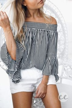 The Bayonne Off Shoulder Top in Stripe is definitely an essential this summer perfect when paired with white shorts.fit: standard sizing relaxed fit light weight fabric unlined off shoulder detai (Off The Shoulder Top With Shorts) Style Outfits, Mode Outfits, Casual Outfits, Style Clothes, Spring Summer Fashion, Spring Outfits, Off Shoulder Outfits, Of The Shoulder Shirt, Off The Shoulder