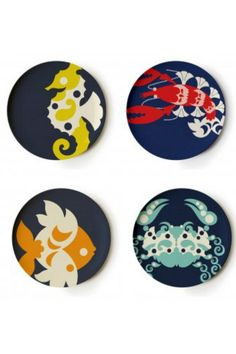 "The Amalfi Melamine Dinner Plate set is the perfect way to spice up any table setting. Decorated in navy blue with colorful sea-life it will bring a smile to any face. These dinner plates are shatter resistant and dishwasher safe. Set of 4    Measures: 11"" diameter    Melamine Dinner Plate by Thomas Paul. Home & Gifts - Home Decor - Dining - Dinnerware Rehoboth Beach, Delaware"