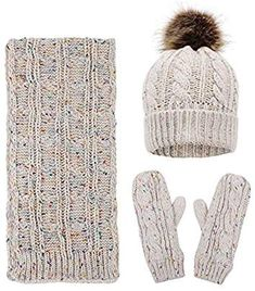 40fe8a824fb7e ANDORRA 3 in 1 Women Soft Warm Thick Cable Knitted Hat Scarf  amp  Gloves  Winter