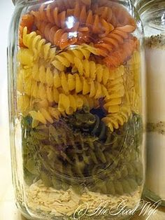 Dinner in a jar gift idea. Good idea for people who can't eat sweets or when there is just too many sweets during the holidays.