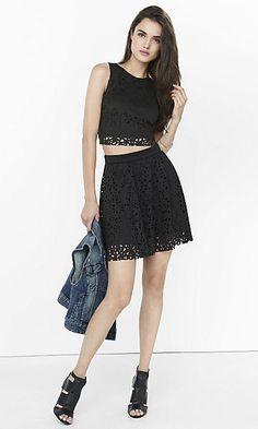 Laser Cut Cropped Tank & Mini Skirt