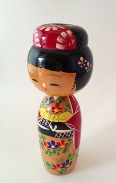 Vintage Wooden Bobble Head Japanese Kokeshi Doll by MelbaMoon, $16.00