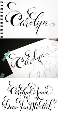 """""""Creating a digitized design for letterpress printing starts with a quick sketch for client approval of the style. Next I make a complete pencil and felt-tip pen draft of the entire design. Finally I calligraph it and scan it once it's dry. This digital version can then be turned into a photopolymer plate for letterpressing."""""""