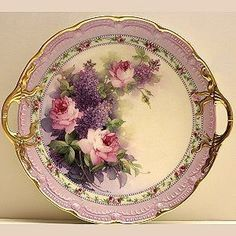 Lilac & Pink Roses Cake Plate Study, Paula Collins, this is so beautiful I would decorate an entire room around this, gorgeous Antique Dishes, Antique China, Vintage China, Antique Plates, Decorative Plates, Vintage Dishes, Painted Plates, Hand Painted, Pink Rose Cake
