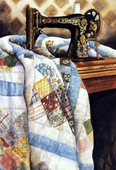 Old time sewing machine and quilt