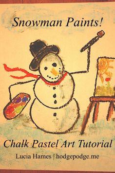 Snowman Paints! Chalk Pastel Art Tutorial www.hodgepodge.me