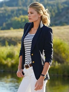 nautical love - Blue blazer with gold buttons, blue  white stripe shirt, white pants. When it's done right...it's perfection. - #nautical
