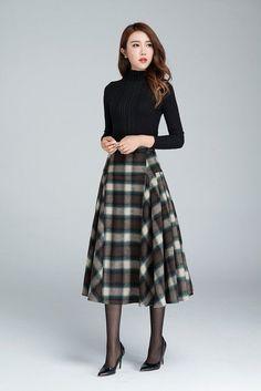 plaid skirt,grid skirt, wool skirt, winter skirt, pleated skirt, retro skirt, long skirt, warm skirt, ladies skirts, plus size skirt 1626