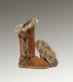 UGG Fox Fur Tall 1984 Chestnut Boots    Want these in every color!