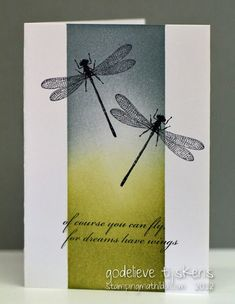 One-layer card with masked column of sponged color in green and gray...overstamped with dragonflies..