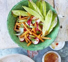 Lettuce is a perfect addition to a salad during the heatwave as it's water content is extremely high, keeping you cool and hydrated. An Asian-inspired dish that's everything a salad should be- light, fresh, colourful and crunchy. Bbc Good Food Recipes, Vegetarian Recipes, Healthy Recipes, Gf Recipes, Vegan Meals, Healthy Foods, Recipies, Radish Salad, Carrot Salad