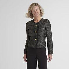 Jaclyn Smith- -Women's Blazer Jacket - Tweed & Faux Leather