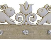 March Bunnies. Marie Ricci coat rack featured in Etsy Treasury List.