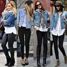 Chaqueta de jean, camisa blanca y pantalones negros. 44 Stunning Ripped Jeans Ideas To Look Rugged All you will need is a little water and the included bamboo brush. Purple Rain showed the nation an entirely […] Jean jacket, black bottoms and white shir Jean Jacket Styles, Jean Jacket Outfits, Outfit With Denim Jacket, Black Pants Outfit, Blue Jean Jacket, Mode Outfits, Fashion Outfits, Womens Fashion, Jeans Fashion