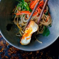 Soba Noodles with Fried Egg, Carrots, Herbs and Soy Lime Sesame Dressing by joylicious: 15minutes! #Soba_Noodles #Egg #Quick