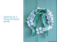 turquoise and white holiday door gift wreath
