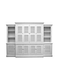 Carolina Painted Furniture, Sullivan's Island Wall Unit, Straight Base, Bermuda Shutter Doors, Snow