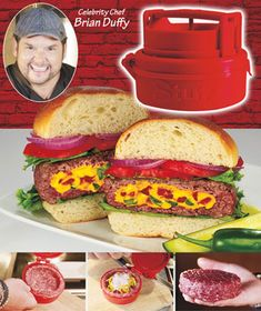 "Amaze yourself with the flavorful combinations you'll create with the Stufz Stuffed Burger Maker. Pack up to 1/2-lb. of burger full of extra ingredients. You can also make cupped burgers and patties. Comes apart for easy cleaning. 4-3/4"" dia. x 2-1/4"