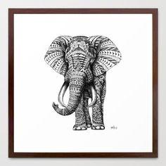 Ornate Elephant Framed Art Print