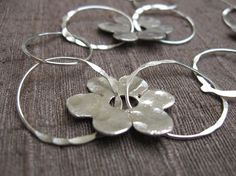 Sterling Silver Necklace Handmade Rings and Flowers