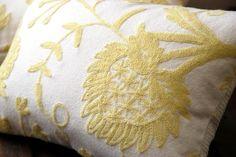 Vintage Crewel Lemon Jacobean Floral on Handloomed Cotton Boudoir,