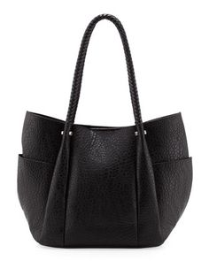 Braided Handle Pleated Bag, Black by Neiman Marcus at Neiman Marcus Last Call.