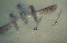 plane in the sea