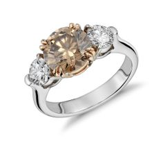 Blue Nile Fancy Brown Three-Stone Diamond Ring in Platinum and 18k Rose Gold